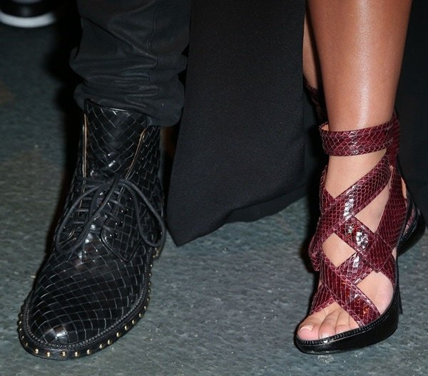 A closer look at Kanye's woven lace-ups and Kim's snakeskin sandals