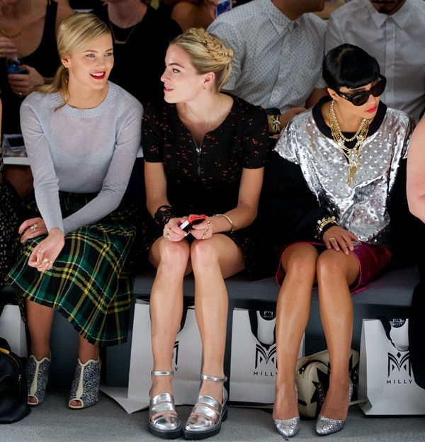 Model Kyleigh Kuhn, DJ and actress Chelsea Leyland, and singer-songwriter Natalia Kills sporting interesting shoes while attending the Milly presentation during 2014 Mercedes-Benz Fashion Week in New York City on September 11, 2013 show nyfw spring 2014