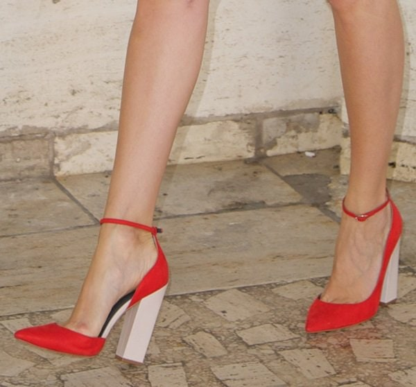 Louise Roe NYFW Day 3 Spring 2014 Red Pumps