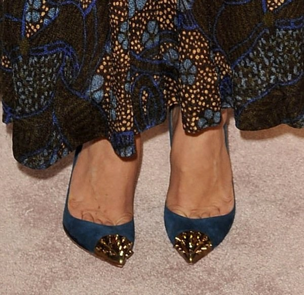 Maggie Gyllenhaal wearing Christian Louboutin pumps