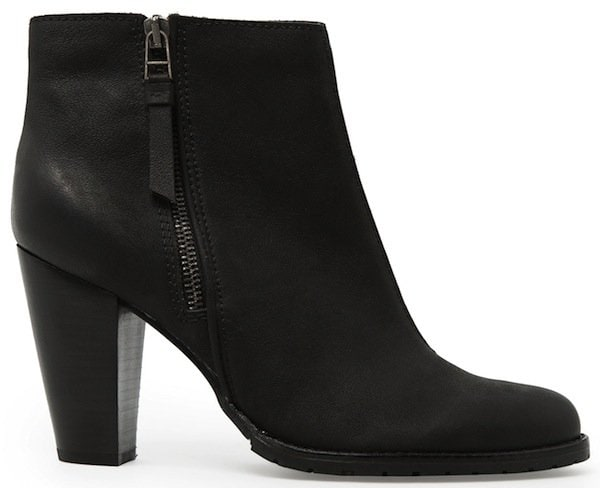Mango Wooden Heel Leather Ankle Boots