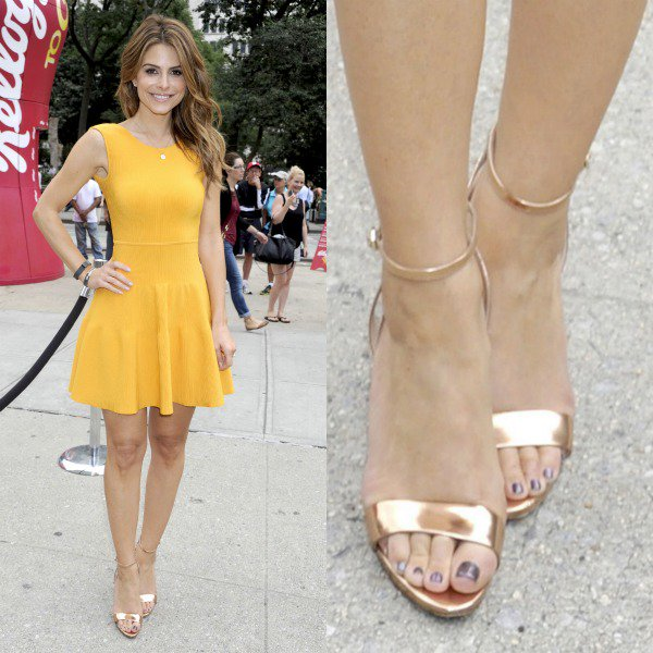 """Maria Menounos's sexy feet in dazzling B Brian Atwood """"Catania"""" ankle-strap sandals"""