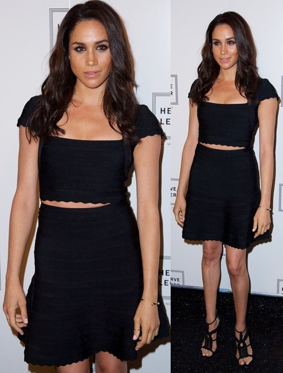 Meghan Markle in dainty crocheted sandals paired with a bandage dress for the Herve Leger presentation during 2014 Mercedes-Benz Fashion Week in New York City on September 7, 2013