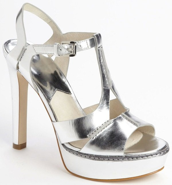 "Michael by Michael Kors Silver ""Camilla"" Sandals"