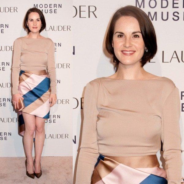 Michelle Dockery dressed to impress in a Vionet nude bateau top and an asymmetrical wrap skirt