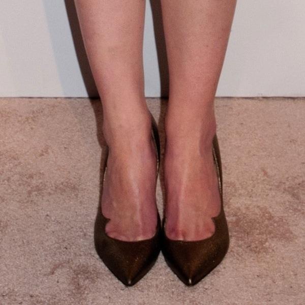 """Michelle Dockery wearing Paul Andrew """"Zenadia"""" bronze leather pumps"""