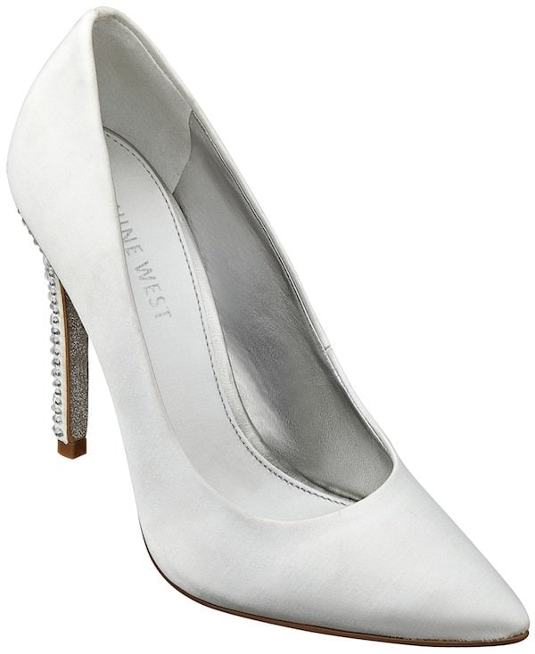 Nine West White Glittering Pointy-Toe Pumps