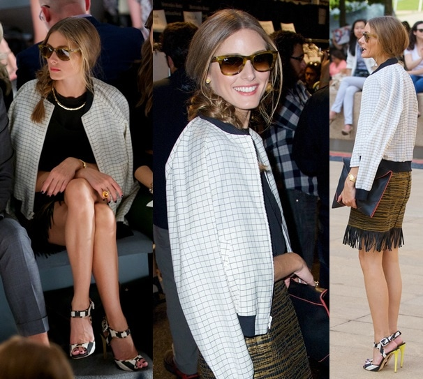 Olivia Palermo in a three-piece outfit paired with the same black-and-white sandals at the Dennis Basso Spring 2014 presentation during New York Fashion Week in New York City on September 10, 2013