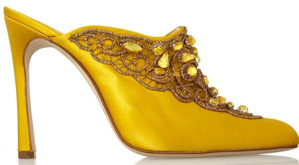 Oscar de la Renta Yellow Mina Embellished Satin Mules