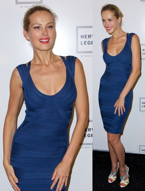 Model Petra Nemcova capping off her outfit with one-of-a-kind color-blocked sandals at the Herve Leger show during 2014 Mercedes-Benz Fashion Week in New York City on September 7, 2013
