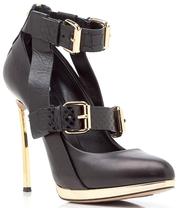 Prabal Gurung for Casadei Black Double-Buckled-Strap Almond-Toe Pumps