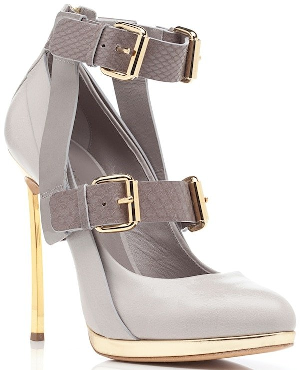 Prabal Gurung for Casadei Gray Double-Buckled-Strap Almond-Toe Pumps