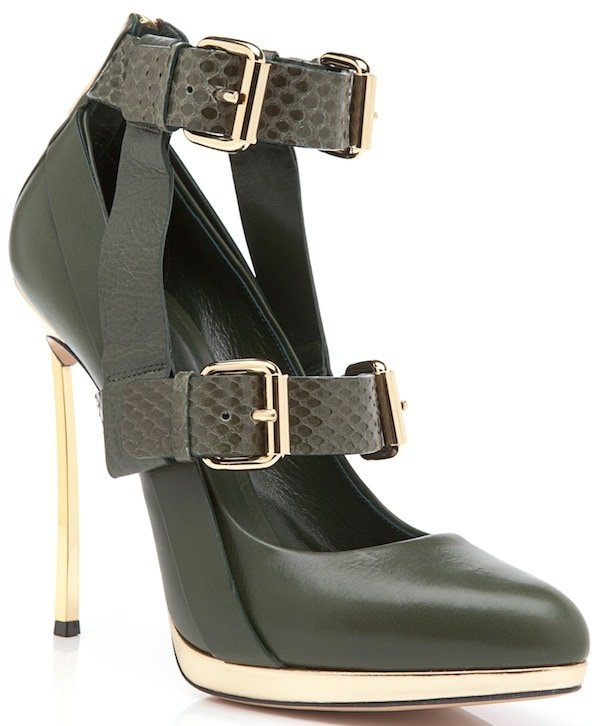 Prabal Gurung for Casadei Olive Green Double-Buckled-Strap Almond-Toe Pumps