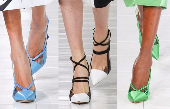 Prabal Gurung keeping it ladylike with paneled and strappy pointy pumps for Spring 2014