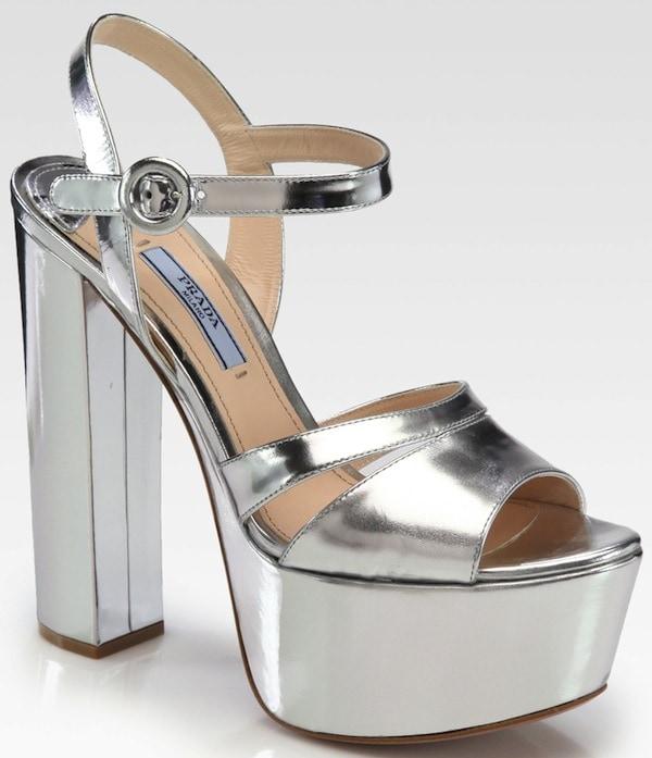 Prada Silver Metallic Leather Platform Sandals