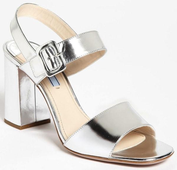Prada Silver Two-Strap Block-Heel Sandals