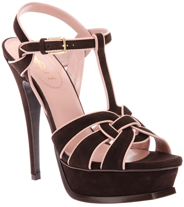 saint laurent tribute sandals in brown suede pink trim