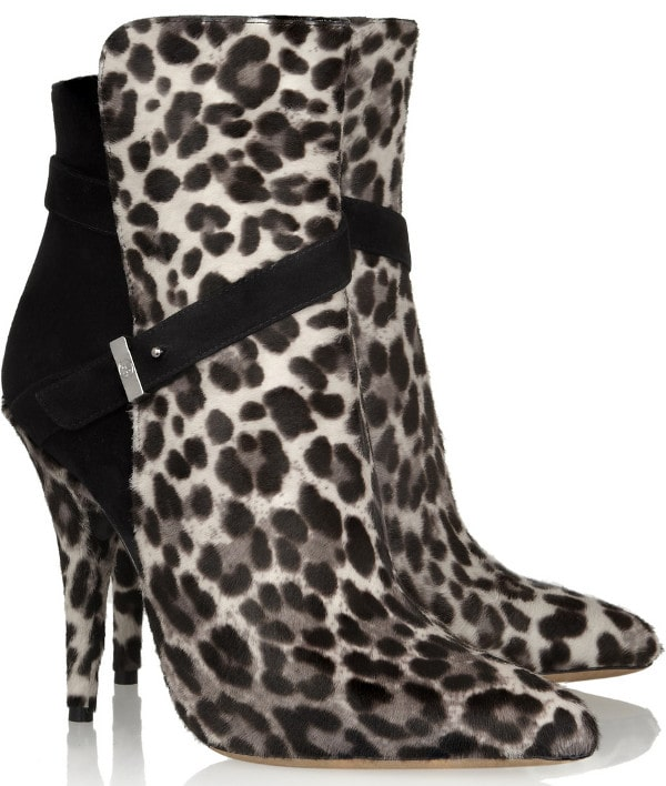 TABITHA SIMMONS - Hunter leopard-print calf hair and suede ankle boots
