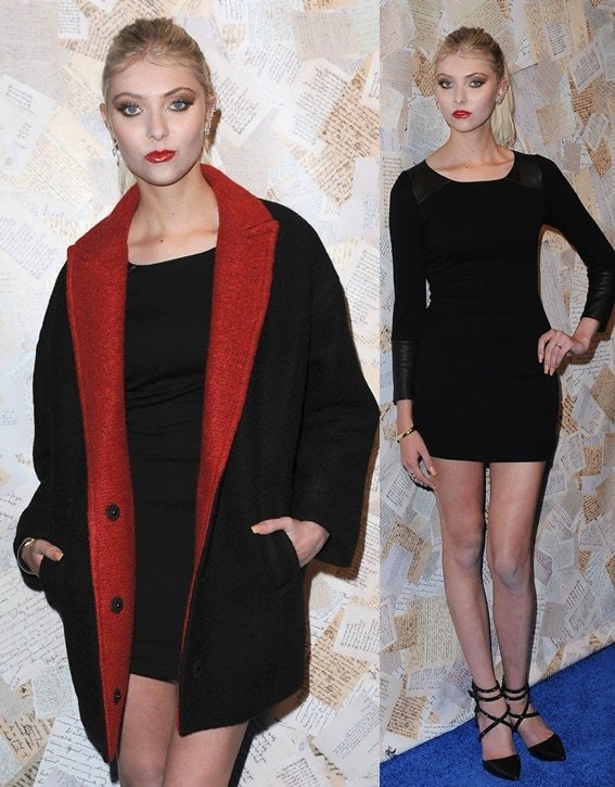 Taylor Momsen in a polished look with studded wrap-around ankle-strap pumps for the Alice + Olivia presentation during 2014 Mercedes-Benz Fashion Week in New York City on September 9, 2013