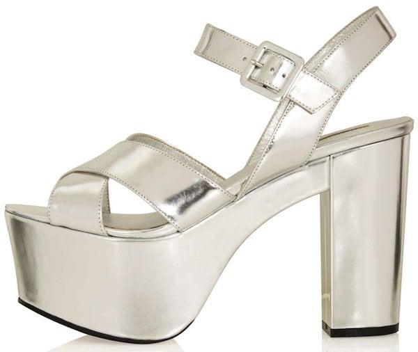 "Topshop Silver ""Lawson"" Metallic Platforms"