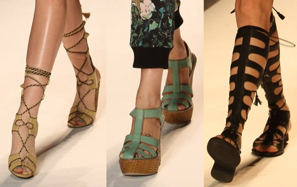 Tracy Reese going for an all-out summer look with her lace-up-to-the-knee sandals and platform wedges for Spring 2014