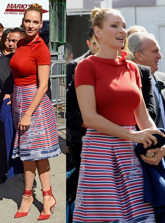 Uma Thurman channeling nautical with stripes and finishing her look with sexy wrap-around ankle-strap pumps during 2014 Mercedes-Benz Fashion Week in New York City on September 9, 2013