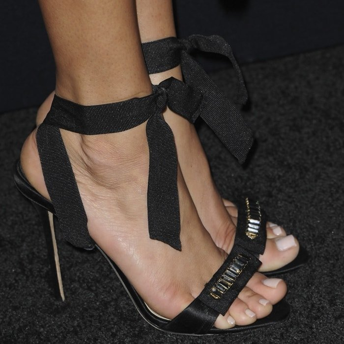 Ashley Madekwe's hot feet in embellished ankle-tie sandals by Olgana Paris