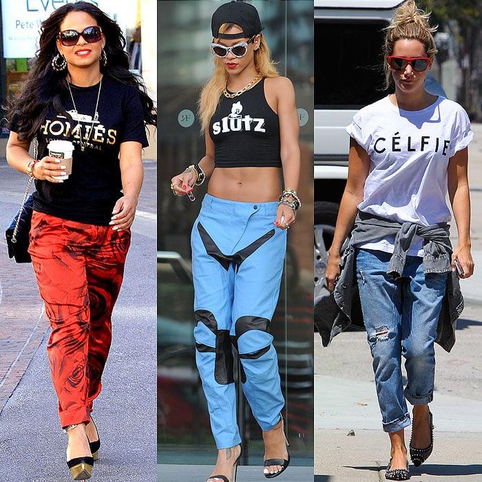 Celebrities in designer parody clothes