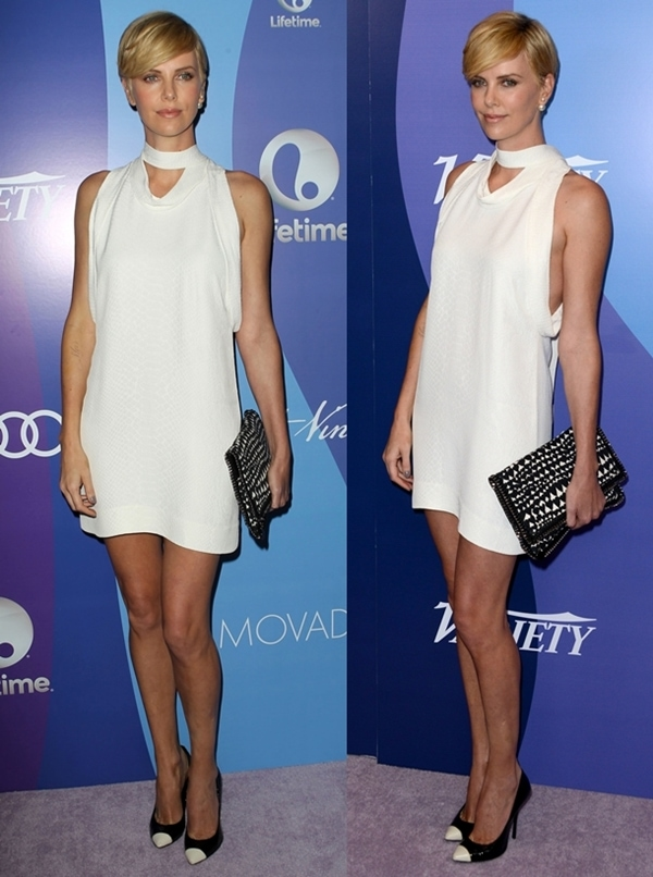 Charlize was equally gorgeous in her white python jacquard Stella McCartney dress from the label's Resort 2014 collection