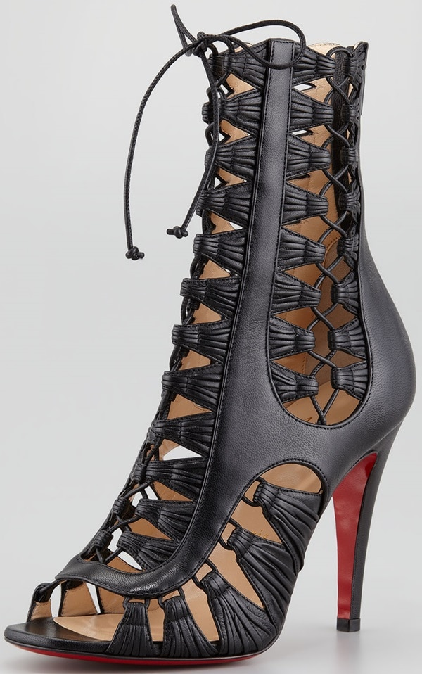 Christian Louboutin Azimut Caged Leather Booties