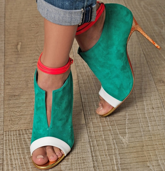 Christian Louboutin Green 'Diptic' Ankle Boots