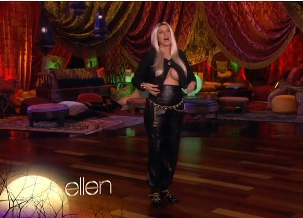 Ellen DeGeneres wears a Nicki Minaj costume