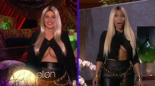 Ellen DeGeneres dressed as Nicki Minaj for Halloween