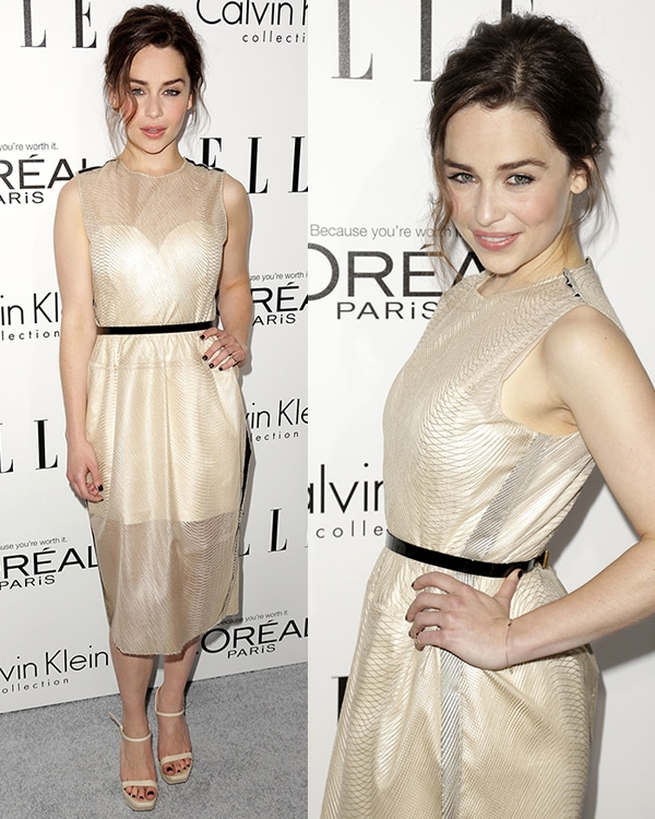 Emilia Clarke was spot-on as she arrived in a sheer Calvin Klein dress in nude with matching sandals