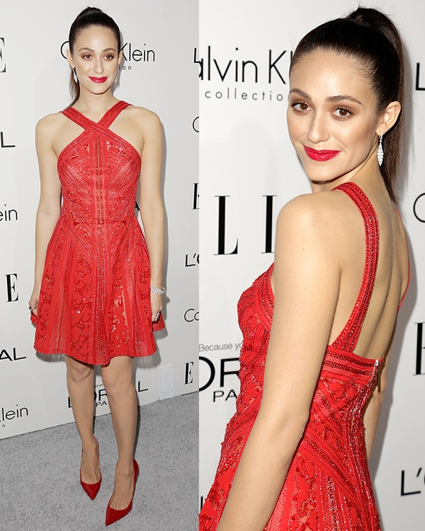Emmy Rossum donned a red Elie Saab embroidered dress at Elle's 20th Annual Women in Hollywood Celebration