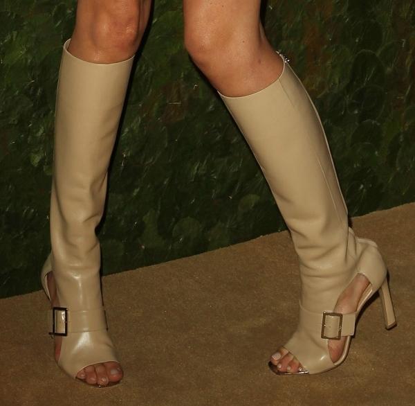 Angela Lindvall's Salvatore Ferragamo open-toe boots