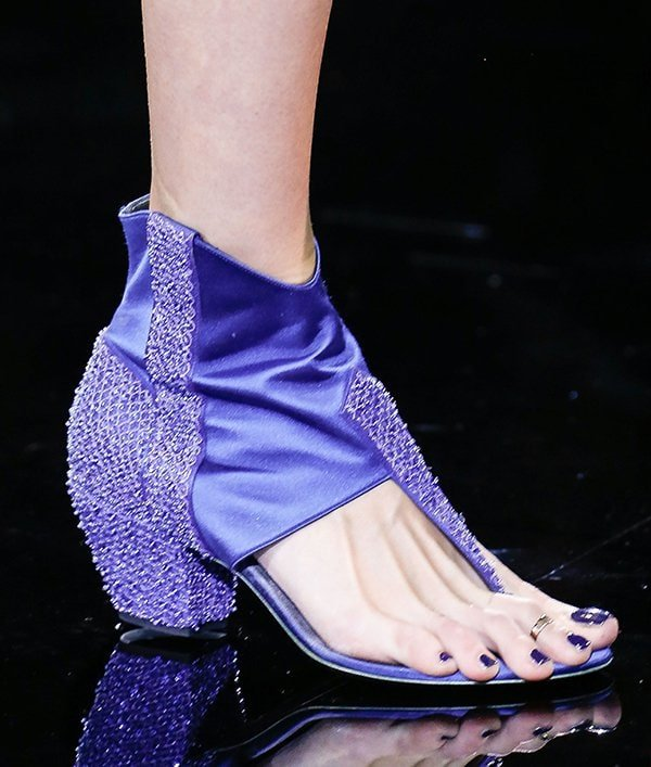 Shoes on the Giorgio Armani runway at Milan Fashion Week Womenswear Spring/Summer 2014