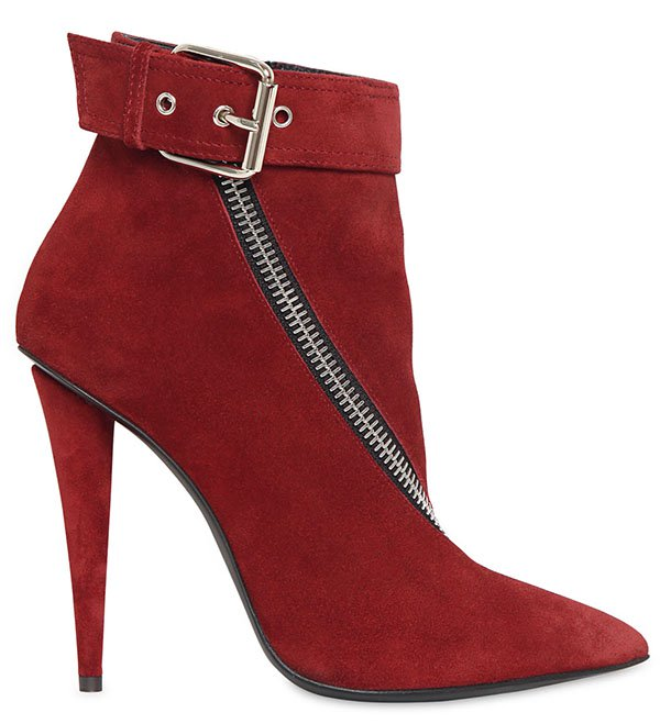 Giuseppe Zanotti Zipped Boots Red Suede
