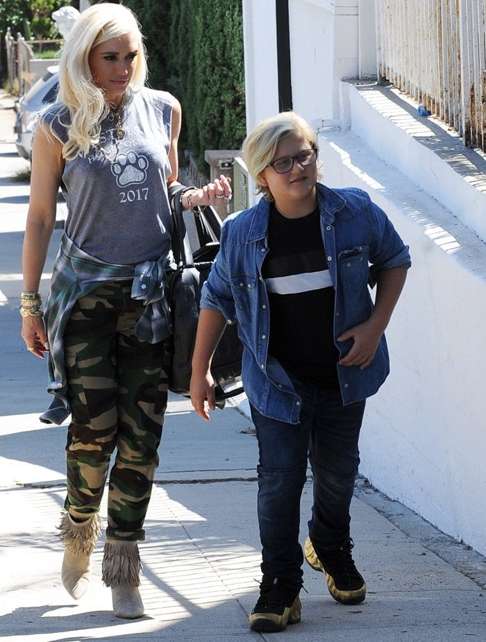 Gwen Stefani, pictured with her son Zuma Nesta Rock Rossdale, visiting a friend in Highland Park, California, on September 22, 2018
