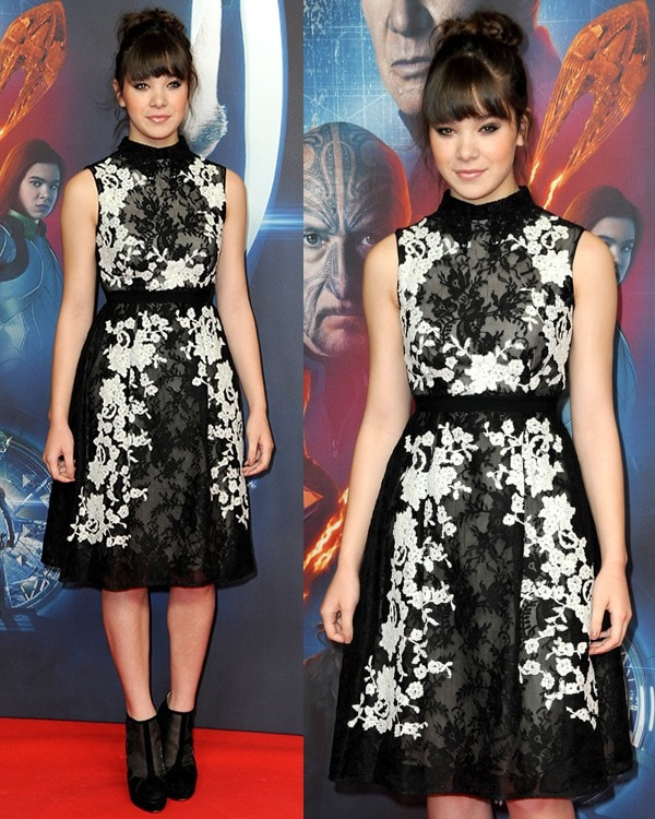 """Hailee Steinfeld wears her hair up with bangs as she poses at a photocall for """"Ender's Game"""""""
