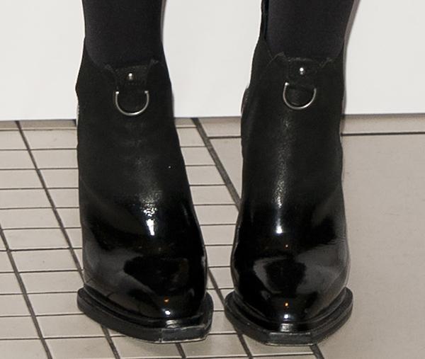 Hailee Steinfeld wearing McQ Alexander McQueen patent suede booties