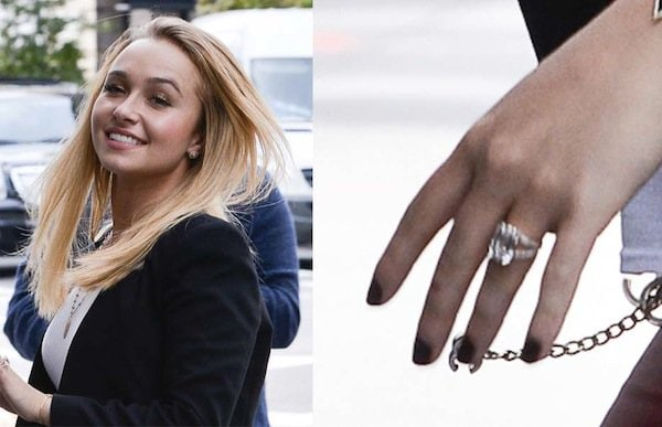 Hayden's huge ring and equally huge smile completing her autumn ensemble perfectly