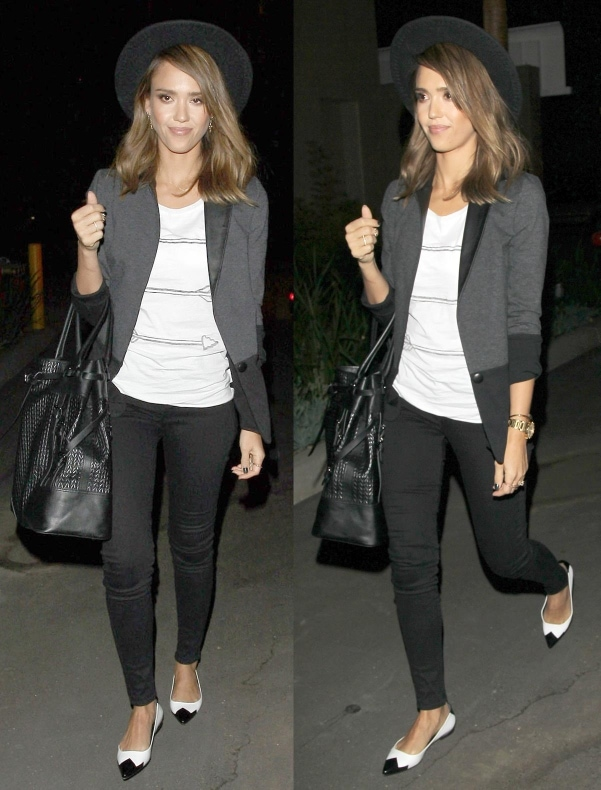 Jessica Alba going out for dinner in Los Angeles, California, on October 4, 2013