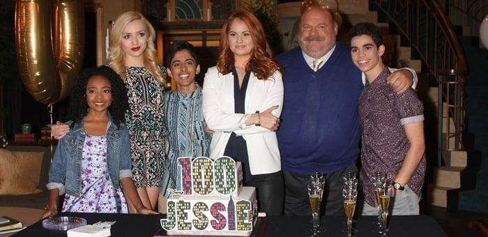 Skai Jackson, Peyton List, Karan Brar, Debby Ryan, Kevin Chamberlin, and Cameron Boyce attend Disney Channel's 100 episode celebration for 'Jessie'