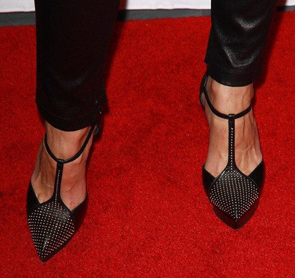 Keri Russell shows off her feet in a pair of black studded Saint Laurent pumps