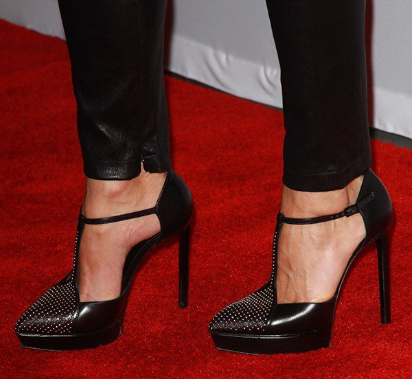 "Keri Russell shows off the platforms on her studded ""Janis"" pumps"