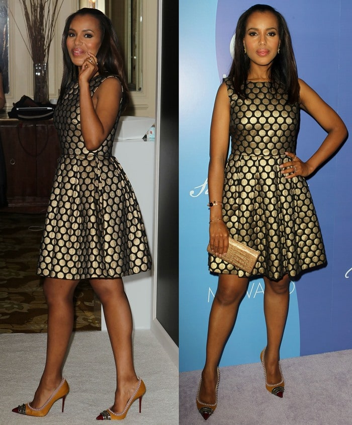 Kerry Washington shines in a black-and-gold dress from Vince Camuto