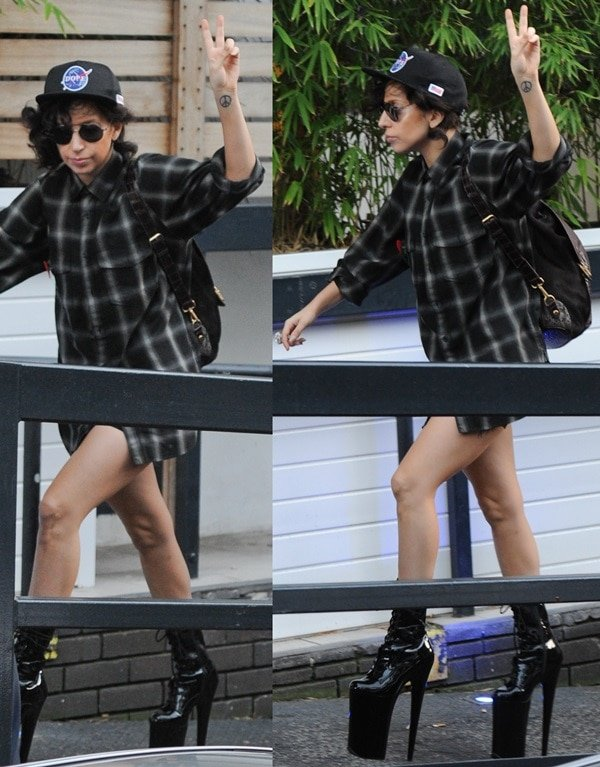 Lady Gaga arrives at a studio in London