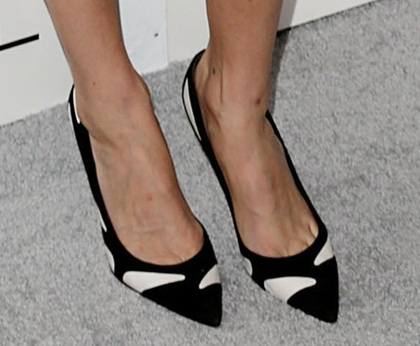 Lake Bell in black-and-white suede pumps by Gianvito Rossi