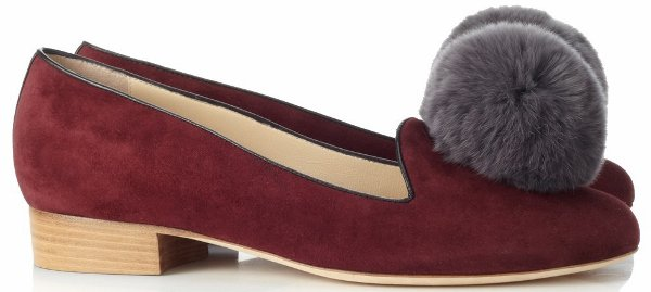 Liam Fahy Burgundy Pompom Loafers